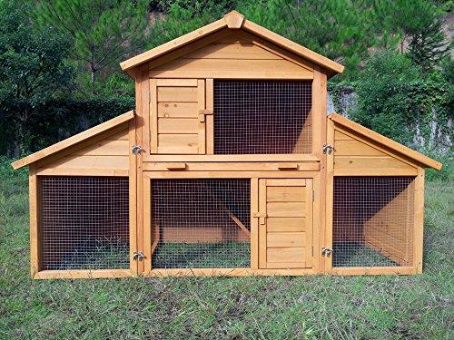 """Kaninchenstall Kleintierhaus Hasenstall Kleintierkäfig Nr. 01 """"Möhrchen"""" mit Seitenflügeln"""