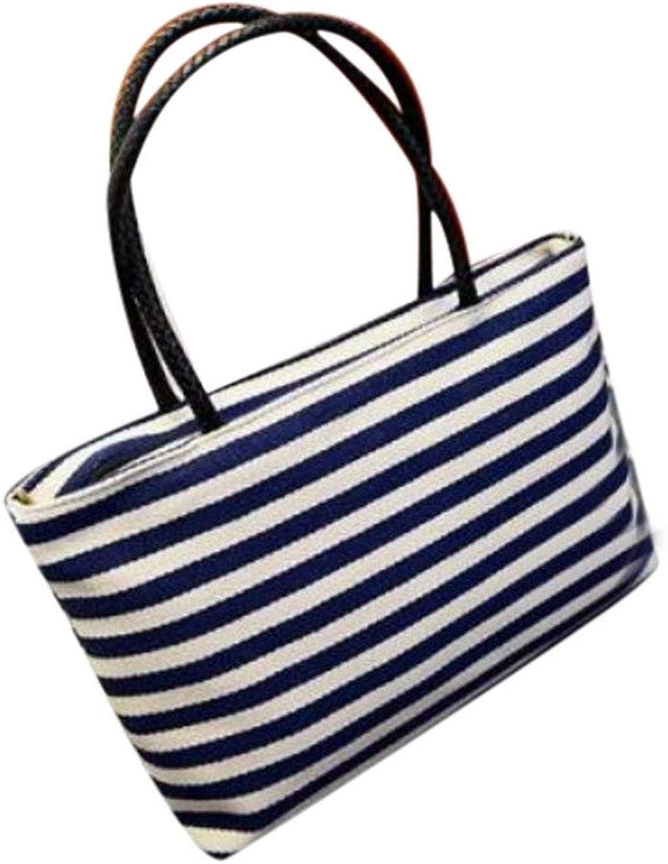 Bloomerang Aelicy Luxury Summer Canvas Bag Striped Prints Beach Bags Tote Women Ladies Girls Shoulder Bag Casual Shopping Handbag Bolsa color blueee
