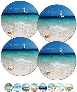 Drink Spills Coasters, Beach Themed Coasters, Sailboat Coaster, Housewarming Hostess Gifts, Wedding Registry, Cool Gift Ideas, Set of 4 No Holder (12359 Sailboat at Sea)