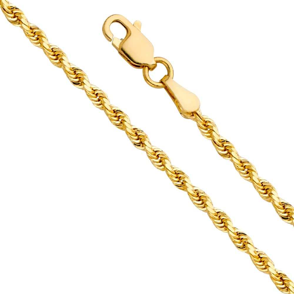 14k REAL Yellow Gold 2.5mm Hollow Rope Chain Necklace with Lobster Claw Clasp