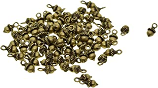 dailymall 50 Pack Metal Fruit Acorn Charms Beads Bulk for DIY Craft Pendants Bracelet Necklace Earring Keychain Jewelry Making Finding Accessories - Green Bronze