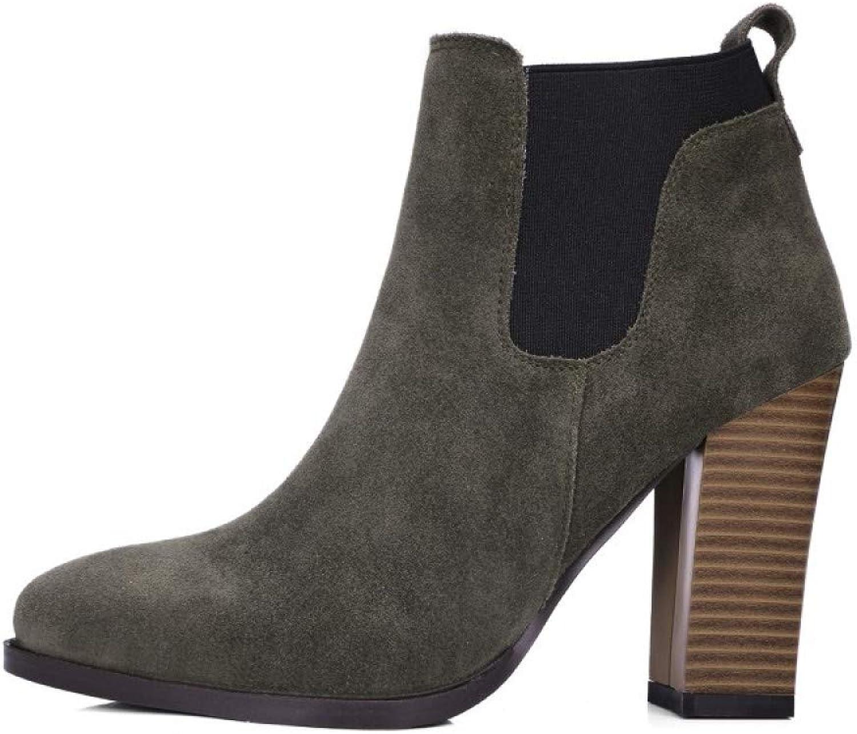 Frauen Leder Wildleder Chelsea Stiefeletten Block Heel Pull Auf Gummizug Runde Toe Arbeit Reiten Stiefelies Schuhe