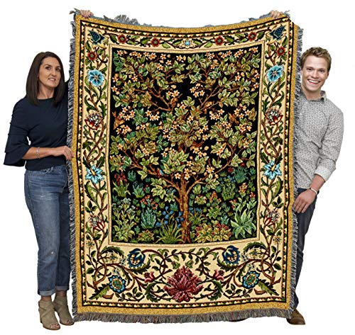 Pure Country Weavers Tree of Life by William Morris - Arts and Crafts - Blanket Throw Woven from Cotton - Made in The USA (72x54)