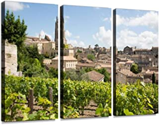 7houarts Vineyards at Saint Emilion City Center, France Canvas Wall Artwork Poster Modern Home Wall Unique Pattern Wall Decoration Stretched and Framed - 3 Piece