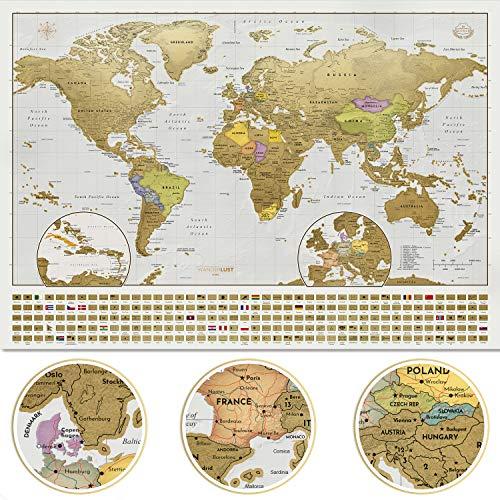 Wanderlust XXL Premium Riesen Weltkarte zum rubbeln Version 2020 mit Fahnen & Flaggen - Top Qualität (84x58.5 cm). Enthält eine personalisierte Deluxe-Geschenktube