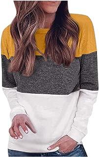 QueenMM 2019 Women's Color Block Sweatshirt Casual Long Sleeve Crew Neck Fleece Pullover Tops Fall Clothes