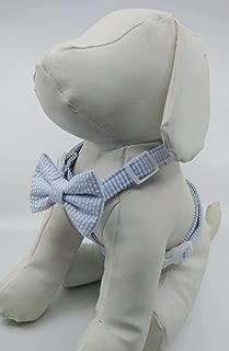 Dog Harness Bow Tie Set - Blue Striped Seersucker - Quick Release Buckle - Adjustable Sizes XS, S, M