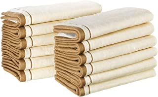 """Creative Scents 100% Cotton Velour Fingertip Towel Set (12 Pack) Super Soft 11"""" x 18"""" Small Hand Towels, Extra-Absorbent Finger Tip Towels for Bathroom & Guests (Cream with Gold Brown Trim)"""
