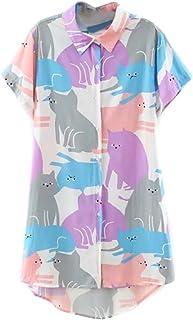 Cartoon Cat Print Short Sleeve Longline Shirt Plus Size (S-XXXXL)