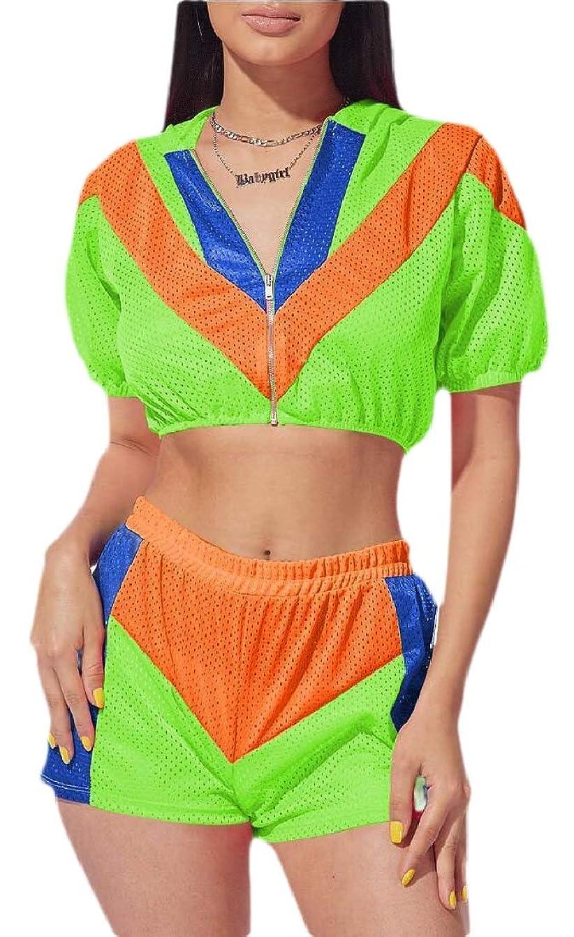 祝福する下向き火山Women Windbreaker Tracksuit Outfits Lightweight Jacket Crop Top Shorts Set