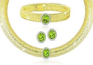 Vera Perla 18K Gold 0.52Cts Diamonds with 10mm Peridot Jewelry Set, 3 Pcs.