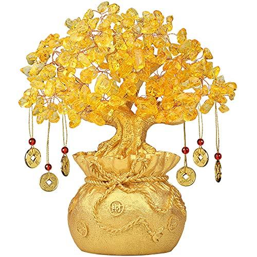 AMZYY Estatua Feng Shui Árbol Bonsai Feng Shui, Árbol Suerte Cristal, Buena Suerte Riqueza y Prosperidad Regalo Espiritual Árbol Piedras Preciosas, Decoración de La Tienda de Oficina en Casa