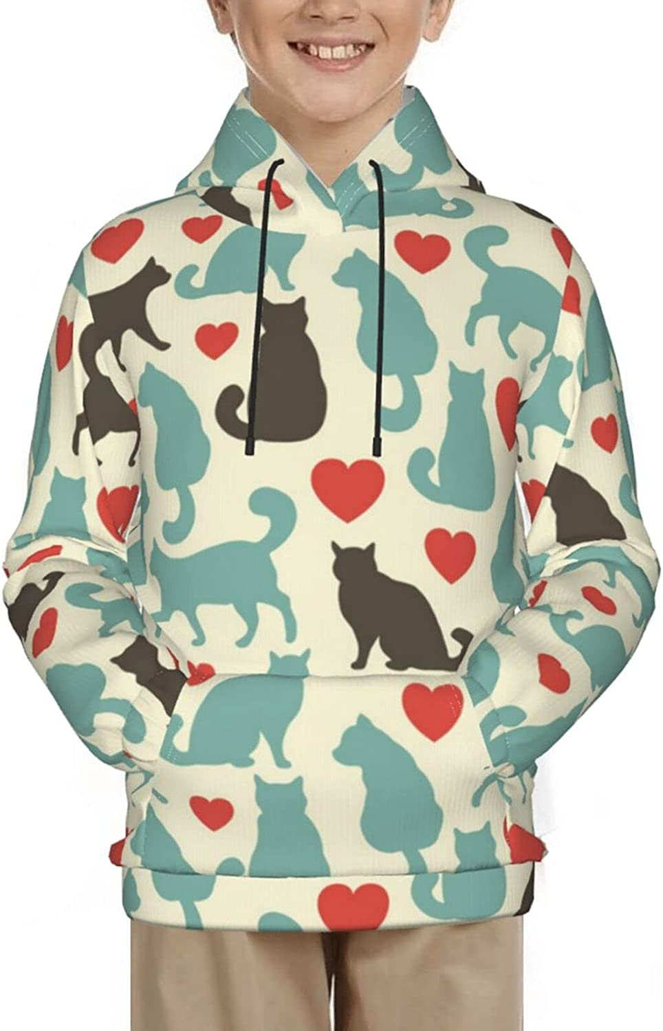 Cat Hoodies, Fashion 3D Print Sweatshirts, with Pocket Long Sleeves Pullover, for Boys Girls