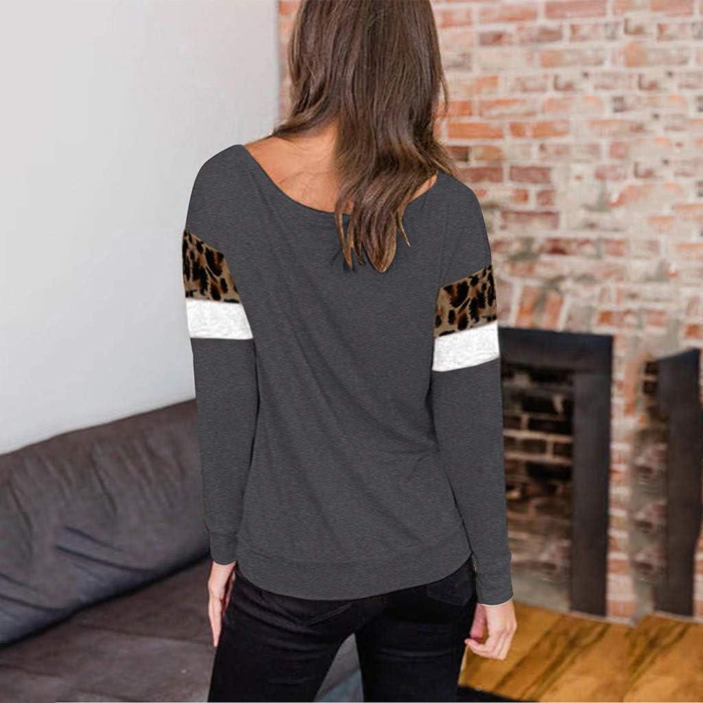 F/_topbu Sweatshirts for Women Round Neck Long Sleeve T-Shirt Leopard Print Heart-Shaped Tops Casual Loose Blouse Shirts