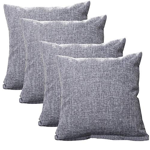Gonove 4 Pack - 18×18 Linen Cotton Pillowcase Vintage Style Square Throw Covers Decorative Cushion Covers for Sofa, Couch, Bed, Bench (Grey)