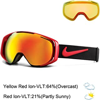 Nike Khyber Goggles, University Red/Black Frame, Red + Yellow Red Ion Lens