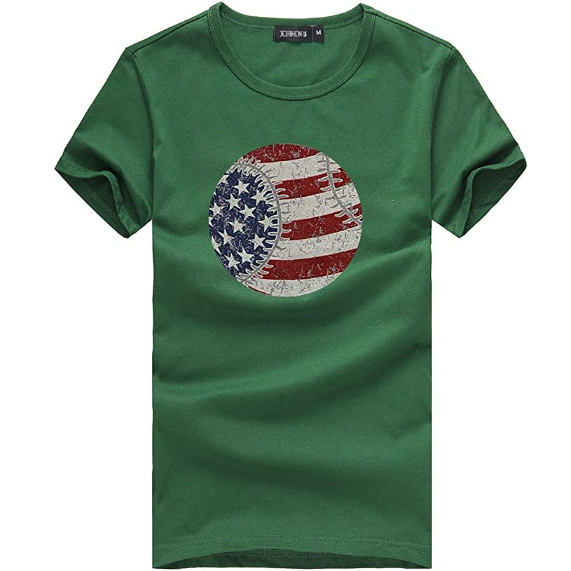 Realdo Womens Fashion T-Shirt Circle American Flag Print Short Sleeve O-Neck Top Blouse rj4849010
