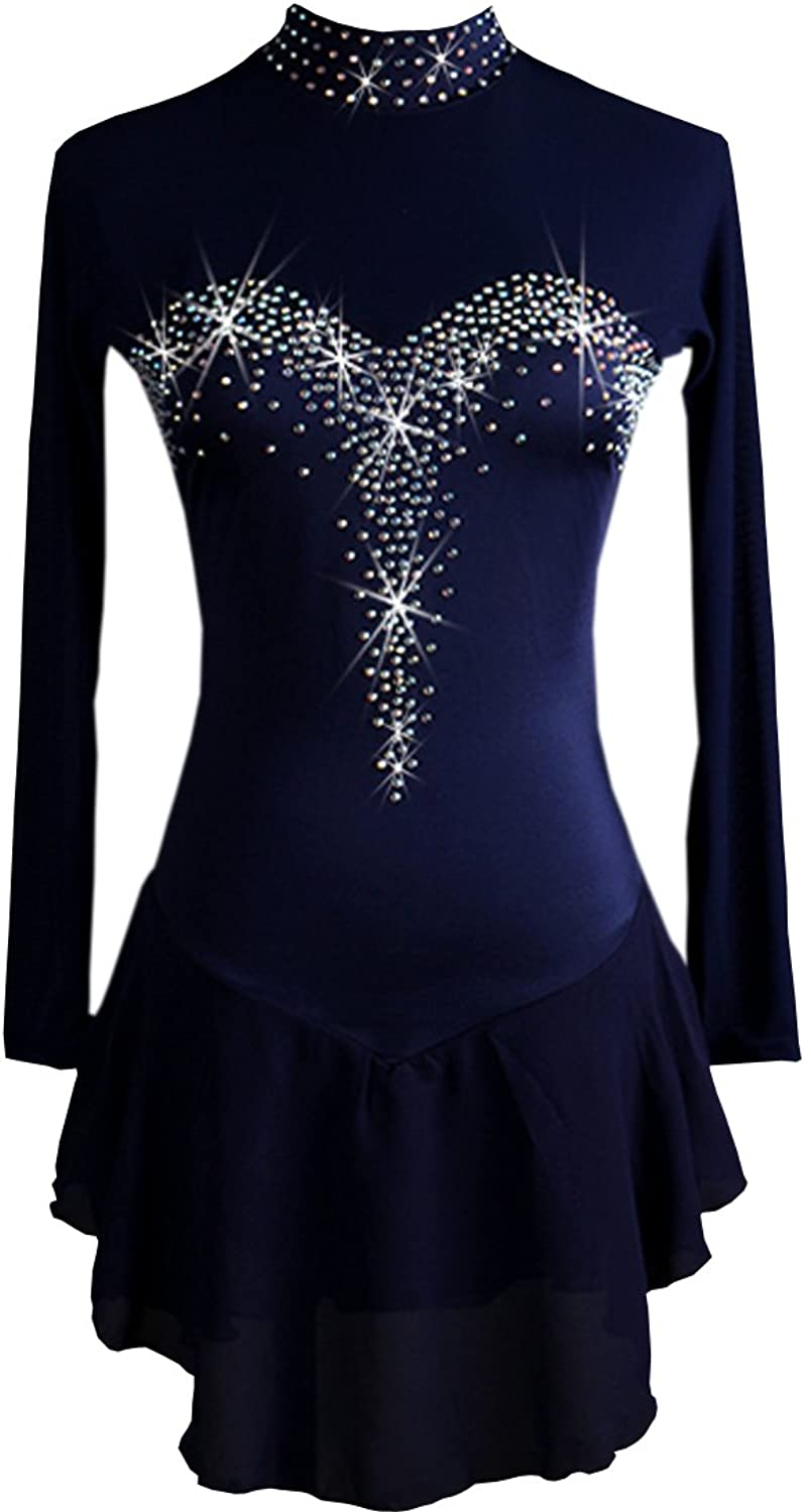 NAKOKOU Rhinestone ice Skating Dress Long Sleeves
