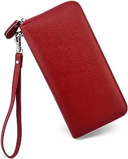 Womens Wallet RFID Blocking Genuine Leather Zip Around Wallet Clutch Wristlet Travel Long Purse for Women