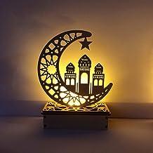 Feamos Wooden Ramadan Eid Mubarak Moon Star Islam Hanging Pendant Plate with LED String Lights Ramadan Eid Mubarak Wooden Moon Ornaments Supplies Home Room Table Decoration Craft Art