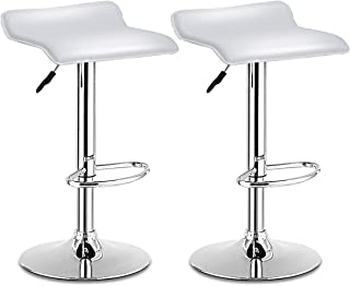 COSTWAY Swivel Bar Stools Adjustable Contemporary Modern Design Chrome Hydraulic PU Leather Backless Dining Chairs Set of 2(White)