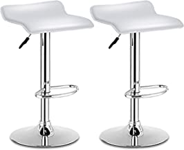 COSTWAY Bar Stool, Swivel Adjustable Contemporary Stools, Modern Design Chrome Hydraulic PU Leather Backless Barstools Set of 2(White)