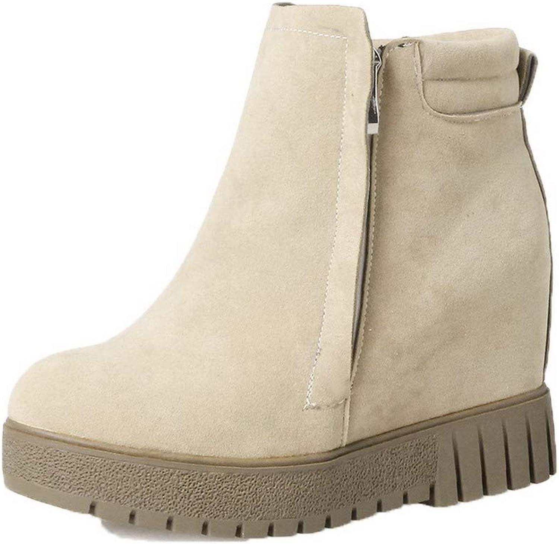 WeenFashion Women's Ankle-High Solid Zipper Round-Toe High-Heels Boots, AMGXX125943