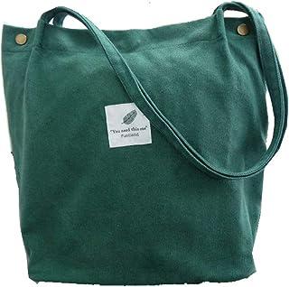 Funtlend Damen Handtasche Groß Canvas Tasche Damen Umhängetasche Henkeltasche Damen für Mädchen Schule Uni-Upgraded-40  35  11 Dunkelgrün