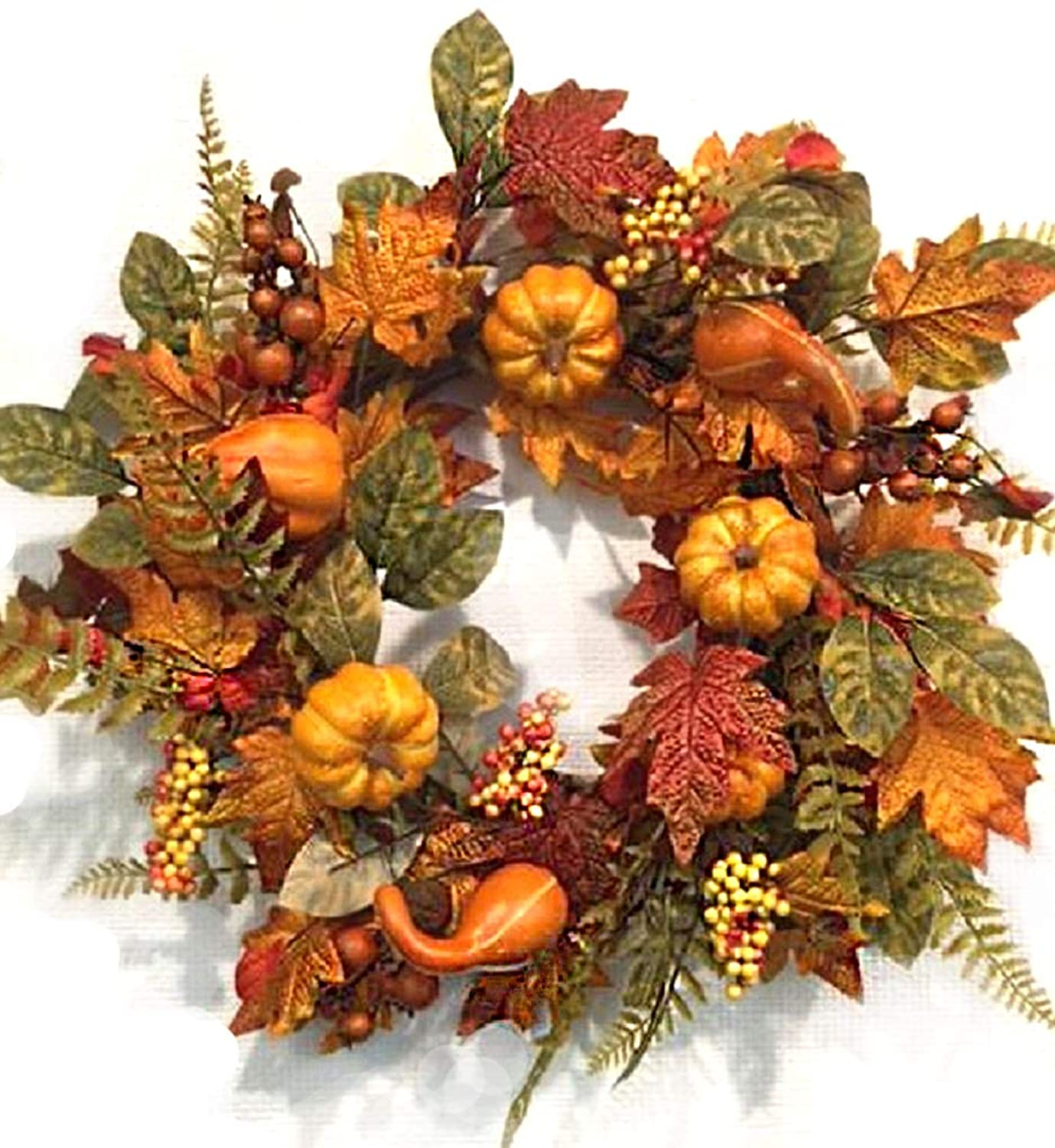Pilgrims Harvest 22 Inch Fall Wreath for Front Door Faux Pumpkins Gourds Berries Maple Leaves Thanksgiving Decoration Indoor Seasonal Autumn Home Decor