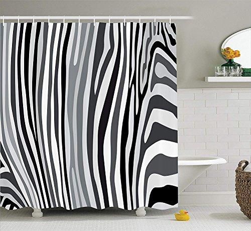 Nyngei Zebra Print Duschvorhang Zebra Muster vertikal gestreiften Design Natur Wildlife inspiriert Illustration Stoff Badezimmer Dekor Set mit180CM grau weiß
