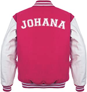Star and Stripes Back Text Varsity Jacket, Personalised Varsity Jacket, Letterman College Jacket Fuschia/White 7/8 yrs
