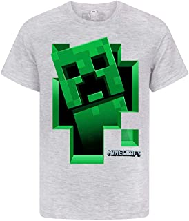 Minecraft Creeper Inside Boy's Grey T-Shirt (12-13 Years)