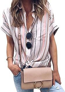 Women Colorblock Stripe Short Sleeve Button Down Tops Blouses Shirt