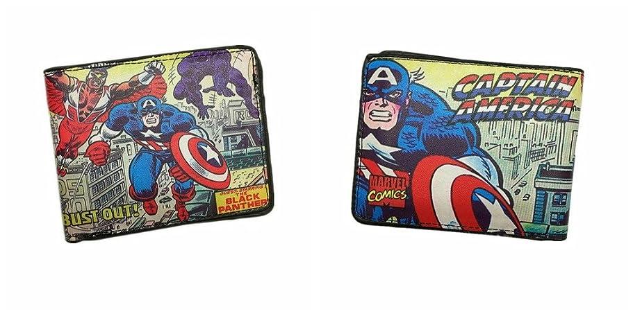 闇スマッシュシャツMarvel Comics Retro Captain AmericaレッドスカルComic二つ折りメンズBoys Wallet w /ギフトボックスby Athena