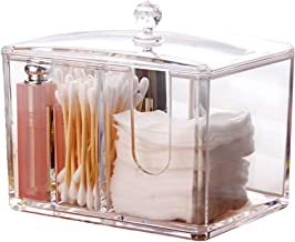 Watpot Q-Tip Cotton Pads Holder Makeup Organizer Cosmetics Makeup Acrylic Clear Cotton Swab Box Cotton Pads Dispenser, 4 S...