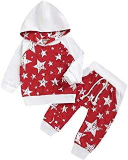 YOUNGER STAR Toddler Infant Baby Boys Girls Stars Long Sleeve Hoodie Tops Sweatsuit Pants Outfit Set