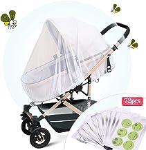 Faburo Universal Mosquitera Carrito Bebé,Mosquitera Bebé silla de paseo y cuna de viaje resistente, Protección Perfecto Elástica y lavable,con Parche Repelente de Mosquitos * 72 piezas