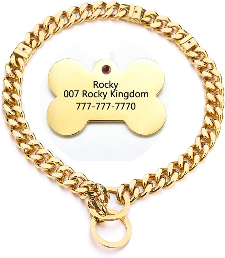 Adjustable 18K Gold Dog Collar 15mm Luxury Stianless Choker Steel Ranking TOP17 Slip
