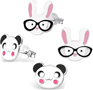 925 Sterling Silver Hypoallergenic Set of 2 Pairs Easter Bunny Rabbit & Panda Face Stud Earrings for Girls (Nickel Free)
