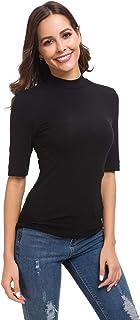 قميص نسائي بأكمام قصيرة ورقبة عالية ورقبة مستديرة وأكمام قصيرة
