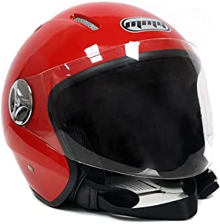 MMG 51 Motorcycle Helmet Pilot, Open Face Flip Up Shield DOT Street Legal, Red, Medium