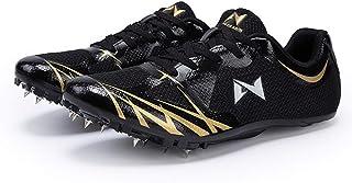 Unisex atletiekschoenen, Lichtgewicht antislip trainingsschoenen Plastic track spikes Running spikes,Black,36EU