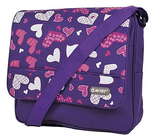 New Girls Womens Love Hearts Hi-Tec School Uni Messenger Satchel Shoulder Bag (HT-1612-Purple Hearts)