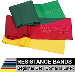 TheraBand Resistance Band Set, Professional Latex Elastic Bands for Upper & Lower Body & Core Exercise, Physical Therapy, Lower Pilates, At-Home Workouts, and Rehab, Beginner & Advanced