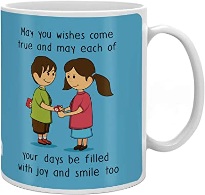 Indigifts Blessing From Sis Quote Printed Gift Set Of Mug 330 Ml, Crystal Rakhi , Roli & Greeting Card For Men/Boys