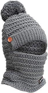 Women's Cute Winter Neck Warmer Knit Beanie Hat with Windproof Face Mask Brim Pom Pom