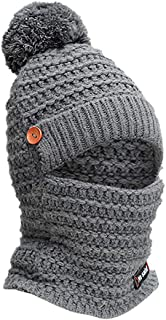 Yoyorule Winter Warm Cap Adult Women Men Winter Earmuffs Knit Hat Scarf Hairball Warm Cap