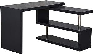 Homcom Table Bureau Table Informatique adjacente pivotante1-360°avec étagères Noir
