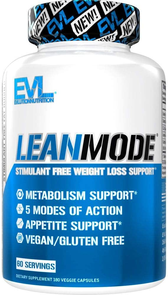 Evlution Nutrition Lean Mode - Stimulant-Free Fat Burner, Metabolism Booster, Diet Pill with Green Coffee, L-Carnitine, CLA, Green Tea & Garcinia Cambogia for Fat & Weight Loss Support (60 Servings)