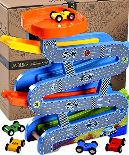 Jaques of London Wooden Toys Carpark Perfect toddler toys for 1 2 3 4 year olds – Includes Toy...